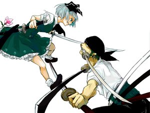 Rating: Safe Score: 64 Tags: crossover flowers gray_hair green_hair katana konpaku_youmu momo_koromo one_piece roronoa_zoro sword touhou weapon User: SonicBlue