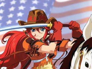 Rating: Safe Score: 6 Tags: animal blue_eyes gemini_sunrise gloves hat horse red_hair sakura_taisen_5 sword weapon User: WhiteExecutor