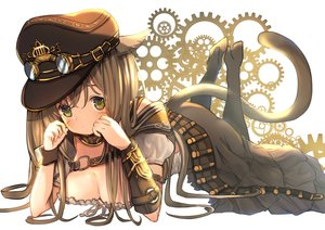 Rating: Safe Score: 75 Tags: animal_ears boots breasts brown_hair catgirl cleavage final_fantasy final_fantasy_xiv goggles green_eyes hat long_hair miqo'te skirt tail umika35 User: otaku_emmy