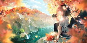 Rating: Safe Score: 55 Tags: autumn black_hair camera clouds leaves orange_eyes rokusai shameimaru_aya short_hair sky touhou water waterfall wings User: RyuZU