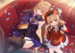 Rating: Safe Score: 100 Tags: 2girls aliasing couch dress eyepatch fischl_(genshin_impact) garter_belt gejigejier genshin_impact gloves klee_(genshin_impact) loli pointed_ears stockings thighhighs User: BattlequeenYume