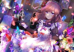 Rating: Safe Score: 57 Tags: apron brown_hair butterfly drink flowers gloves headdress kazu_(muchuukai) long_hair maid original purple_hair User: BattlequeenYume