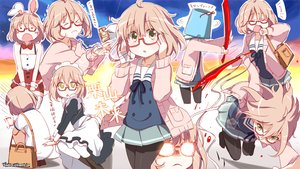 Rating: Safe Score: 114 Tags: animal_ears bandage blood brown_hair bunny_ears glasses headband kitahara_tomoe_(artist) kuriyama_mirai kyoukai_no_kanata maid pantyhose school_uniform short_hair sword watermark weapon yellow_eyes User: C4R10Z123GT
