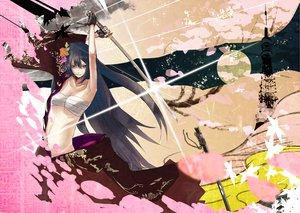 Rating: Safe Score: 35 Tags: aqua_eyes black_hair flowers gloves kamui_gakuko katana leaves long_hair sarashi sword underwear vocaloid weapon User: HawthorneKitty