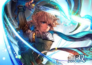 Rating: Safe Score: 34 Tags: all_male aqua_eyes armor blonde_hair gloves hat kawacy link_(zelda) magic male pointed_ears scarf sword the_legend_of_zelda watermark weapon User: otaku_emmy