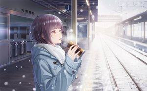 Rating: Safe Score: 50 Tags: black_hair brown_eyes drink hoodie macha0331 original scarf short_hair snow stairs train User: RyuZU
