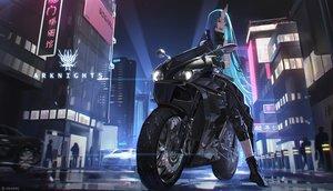 Rating: Safe Score: 61 Tags: aqua_hair arknights building city green_eyes green_hair horns hoshiguma_(arknights) long_hair motorcycle night watermark xtears_kitsune User: Fepple
