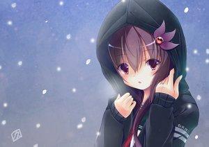 Rating: Safe Score: 19 Tags: anthropomorphism hoodie kamiya_yuu kantai_collection kisaragi_(kancolle) long_hair purple_eyes purple_hair snow User: RyuZU