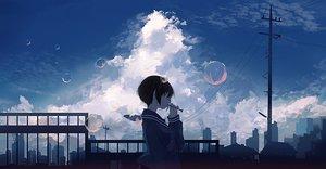 Rating: Safe Score: 53 Tags: bubbles building city clouds mifuru original scenic school_uniform short_hair sky User: FormX