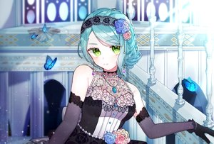 Rating: Safe Score: 34 Tags: aqua_hair bang_dream! butterfly dress flowers gloves gothic green_eyes headdress hikawa_sayo necklace rose tagme_(artist) User: BattlequeenYume