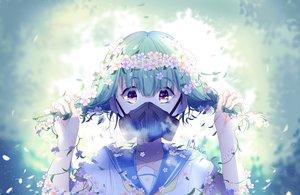Rating: Safe Score: 65 Tags: crown flowers green_hair lluluchwan mask ohana_(lluluchwan) original purple_eyes school_uniform signed User: BattlequeenYume