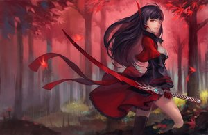 Rating: Safe Score: 51 Tags: autumn black_hair breasts cleavage dress forest gloves horns leaves long_hair original pixiv_fantasia quaanqin red_eyes sword tree weapon User: sadodere-chan