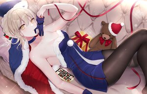 Rating: Safe Score: 96 Tags: artoria_pendragon_(all) blonde_hair braids breasts candy chocolate choker christmas cleavage couch dress fate/grand_order fate_(series) gloves meltymaple pantyhose ribbons saber saber_alter teddy_bear yellow_eyes User: BattlequeenYume