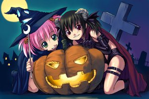 Rating: Safe Score: 6 Tags: askray black_hair cape demon green_eyes halloween moe_(bosshi) moon night pink_hair pumpkin red_eyes short_hair witch yu_(bosshi) User: Oyashiro-sama