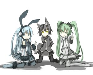 Rating: Safe Score: 90 Tags: animal_ears black_hair blue_eyes blue_hair boots bunny_ears bunnygirl catgirl crossover fang ganesagi green_eyes green_hair hatsune_miku headphones long_hair nanako_(ganesagi) original pantyhose pixiv-tan polychromatic short_hair skirt thighhighs twintails vocaloid white yellow_eyes User: Tensa