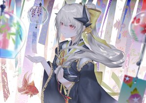 Rating: Safe Score: 52 Tags: animal bagus_casbon fan fate/grand_order fate_(series) fish gray_hair horns japanese_clothes kiyohime_(fate/grand_order) long_hair ponytail red_eyes User: BattlequeenYume