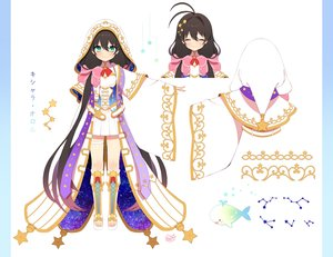 Rating: Safe Score: 59 Tags: animal boots bow brown_hair byulzzimon cape cat_smile dress fish garter green_eyes hoodie kneehighs long_hair mahou_tsukai_to_kuroneko_no_wiz signed stars translation_request twintails User: otaku_emmy