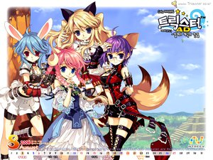 Rating: Safe Score: 24 Tags: animal_ears blonde_hair blue_eyes blue_hair braids breasts bunnygirl calendar catgirl cleavage elbow_gloves foxgirl glasses gloves horns pink_hair purple_eyes purple_hair red_eyes skirt sky tail thighhighs trickster User: Oyashiro-sama