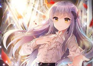 Rating: Safe Score: 170 Tags: bang_dream! ecu8080 gray_hair long_hair minato_yukina petals shirt yellow_eyes User: BattlequeenYume