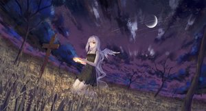 Rating: Safe Score: 72 Tags: angel bandage clouds cross dress eyepatch halo ji_dao_ji long_hair moon night original red_eyes sky summer_dress tree white_hair wings User: sadodere-chan