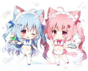 Rating: Safe Score: 38 Tags: 2girls animal_ears apron blue_hair blush bow cake catgirl cherry chibi drink food fruit headdress heart ice_cream koma_momozu long_hair maid navel original pink_hair purple_eyes red_eyes skirt tail thighhighs twintails waitress white wink zettai_ryouiki User: otaku_emmy