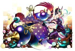 Rating: Safe Score: 44 Tags: demon fate/grand_order fate_(series) halloween horns nozaki_tsubata pumpkin purple_eyes purple_hair short_hair shuten_douji_(fate) thighhighs User: RyuZU