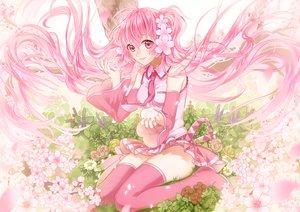 Rating: Safe Score: 60 Tags: aliasing boots flowers hatsune_miku kurisu_takumi long_hair pink_eyes pink_hair sakura_miku skirt thighhighs tie twintails vocaloid zettai_ryouiki User: luckyluna