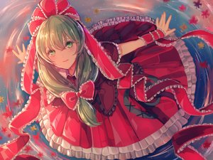 Rating: Safe Score: 39 Tags: bow dress green_eyes green_hair kagiyama_hina leaves long_hair nukominto ribbons touhou water User: RyuZU