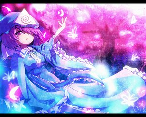 Rating: Safe Score: 12 Tags: ayakashi_(monkeypanch) butterfly cherry_blossoms flowers hat japanese_clothes kimono petals purple_eyes purple_hair saigyouji_yuyuko short_hair touhou User: w7382001