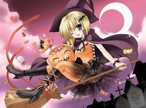 Rating: Safe Score: 15 Tags: blonde_hair blue_eyes halloween moon pumpkin short_hair tagme tagme_(artist) witch User: Oyashiro-sama