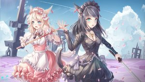 Rating: Safe Score: 39 Tags: 2girls animal_ears apron black_hair blonde_hair blood blue_eyes blush bow catgirl cherry_blossoms clouds dress final_fantasy final_fantasy_xiv flowers goth-loli green_eyes headband icefurs katana lolita_fashion long_hair maid miqo'te sky sword tail watermark weapon User: BattlequeenYume