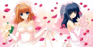 Rating: Safe Score: 40 Tags: 2girls breasts cleavage dress fuyou_kaede navel nishimata_aoi shuffle skirt_lift wedding_attire yae_sakura User: gnarf1975