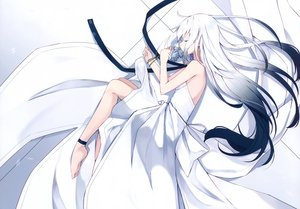 Rating: Safe Score: 49 Tags: cropped dress flowers long_hair nagishiro_mito original photoshop polychromatic scan sleeping white_hair User: Nepcoheart