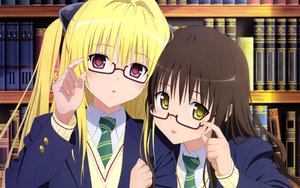 Rating: Safe Score: 143 Tags: 2girls blonde_hair brown_hair glasses golden_darkness loli long_hair red_eyes to_love_ru yellow_eyes yuuki_mikan User: kowarenai