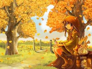 Rating: Safe Score: 29 Tags: animal apple autumn boots braids brown_eyes brown_hair cat food fruit hat leaves tree User: Oyashiro-sama