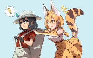 Rating: Safe Score: 28 Tags: 2girls animal_ears anthropomorphism black_hair blonde_hair blue blue_eyes catgirl cat_smile elbow_gloves fang gloves hat idaten93 kaban kemono_friends serval short_hair shorts skirt tail yellow_eyes User: otaku_emmy