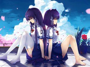 Rating: Safe Score: 134 Tags: 2girls barefoot clannad fujibayashi_kyou fujibayashi_ryou haraguroi_you petals seifuku tears thighhighs User: FormX