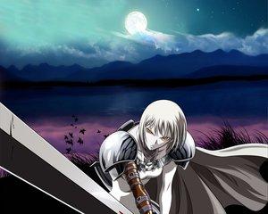 Rating: Safe Score: 9 Tags: clare claymore moon orange_eyes sky sword weapon white_hair User: Oyashiro-sama