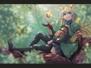 Rating: Safe Score: 61 Tags: animal_ears apple atalanta_(fate) catgirl elbow_gloves fate/apocrypha fate_(series) food fruit gloves green_eyes green_hair long_hair skirt tagme_(artist) tail thighhighs tree User: RyuZU