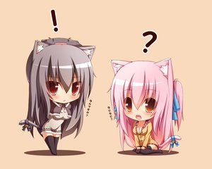 Rating: Safe Score: 263 Tags: 2girls animal_ears bell black_hair bow breasts catgirl chibi cleavage mia_flatpaddy orange original pink_hair red_eyes ribbons shia_flatpaddy syroh tail thighhighs User: Wiresetc