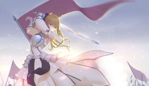 Rating: Safe Score: 193 Tags: artoria_pendragon_(all) blonde_hair fate_(series) fate/stay_night green_eyes long_hair maredoro saber sword weapon User: Flandre93