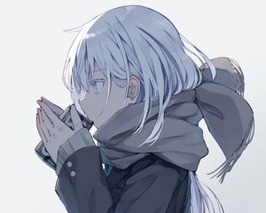 Rating: Safe Score: 62 Tags: close drink gray_eyes nagishiro_mito original polychromatic scarf school_uniform waifu2x white_hair User: otaku_emmy