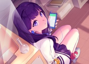 Rating: Safe Score: 66 Tags: book curcumin headphones phone purple_eyes purple_hair seifuku skirt socks ssss.gridman takarada_rikka wristwear User: BattlequeenYume