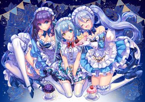 Rating: Safe Score: 129 Tags: bicolored_eyes blue blue_eyes blue_hair bow cu-rim dress garter gloves headdress kara_(king's_raid) king's_raid long_hair maid mirianne_(king's_raid) sonia_(king's_raid) stockings thighhighs twintails User: BattlequeenYume