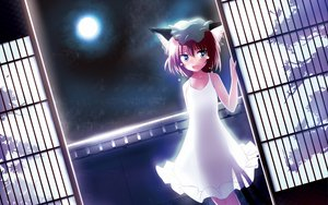 Rating: Safe Score: 46 Tags: animal_ears blue_eyes brown_hair catgirl chen dress hat moon night short_hair sky tail tears touhou User: Flandre