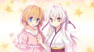 Rating: Safe Score: 76 Tags: 2girls applique blue_eyes blush dress game_cg hana_no_no_ni_saku_utakata_no japanese_clothes kimono long_hair odawara_hakone orange_hair ouka_(hana_no_no_ni_saku_utakata_no) red_eyes short_hair white_hair yakushi_ryouko User: Yasumii