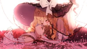 Rating: Safe Score: 66 Tags: 2girls blonde_hair bow braids brown_hair cherry_blossoms flowers hakurei_reimu hat japanese_clothes kirisame_marisa long_hair miko piyokichi shoujo_ai sleeping touhou witch_hat User: BattlequeenYume