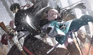 Rating: Safe Score: 62 Tags: aora black_eyes black_hair blood fate/grand_order fate_(series) gray_eyes gray_hair gun hijikata_toshizou_(fate) japanese_clothes katana male okita_souji_(fate) short_hair signed snow sword thighhighs weapon zettai_ryouiki User: Nepcoheart