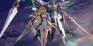 Rating: Safe Score: 69 Tags: blonde_hair breasts cleavage dress elbow_gloves garter gloves hikari_(xenoblade) long_hair mecha swd3e2 sword weapon xenoblade yellow_eyes User: RyuZU
