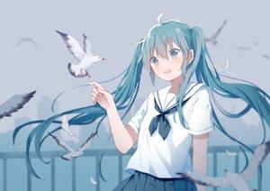Rating: Safe Score: 37 Tags: animal aqua_eyes aqua_hair bird hatsune_miku long_hair mimengfeixue school_uniform silhouette skirt twintails vocaloid User: RyuZU